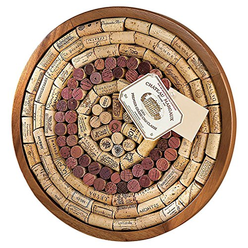 Wine Enthusiast 340 12 02 Round Wine Cork Board Kit, Light Brown ()