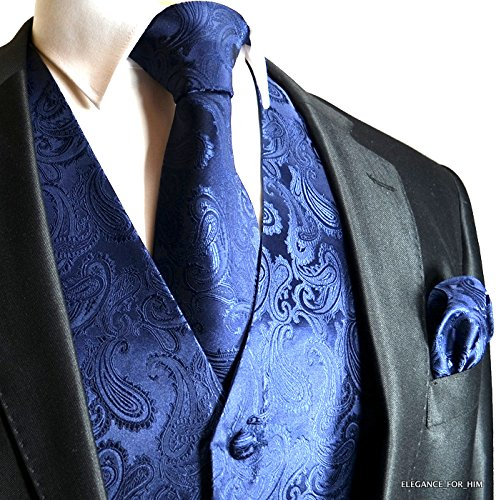 Brand Q Wedding Vest Set Navy Blue Paisley Tuxedo Vest Tie Handkerchief M by Brand Q
