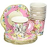 Talking Tables Truly Alice in Wonderland Mad Hatter Party Cup Set with Handle and Saucers in 3 Designs, Multicolor(TSALICE-CUPSETV2)