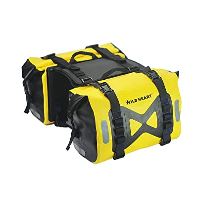 WILD HEART Waterproof bag Motorcycle saddlebag 50L Tank bag Motor Side bag (Yellow)