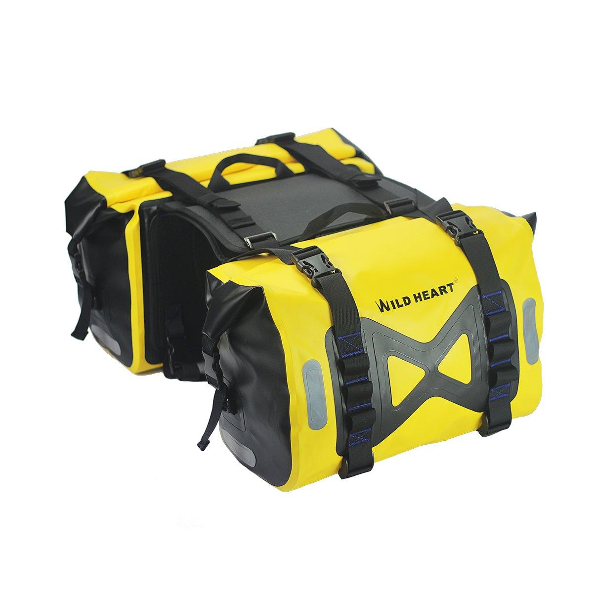 WILD HEART Waterproof bag Motorcycle saddlebag 50L Tank bag Motor Side bag (Yellow)