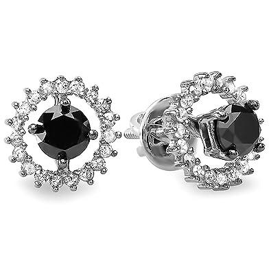 4e9298ad0a877 Amazon.com: 1.00 Carat (ctw) Sterling Silver Ladies Black & White ...