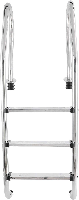 Escalera de piscina, acero inoxidable 304 resistente, 61,8 pulgadas de alto, color plateado, escalera de piscina antideslizante con pedal de 3 pasos, anticorrosión