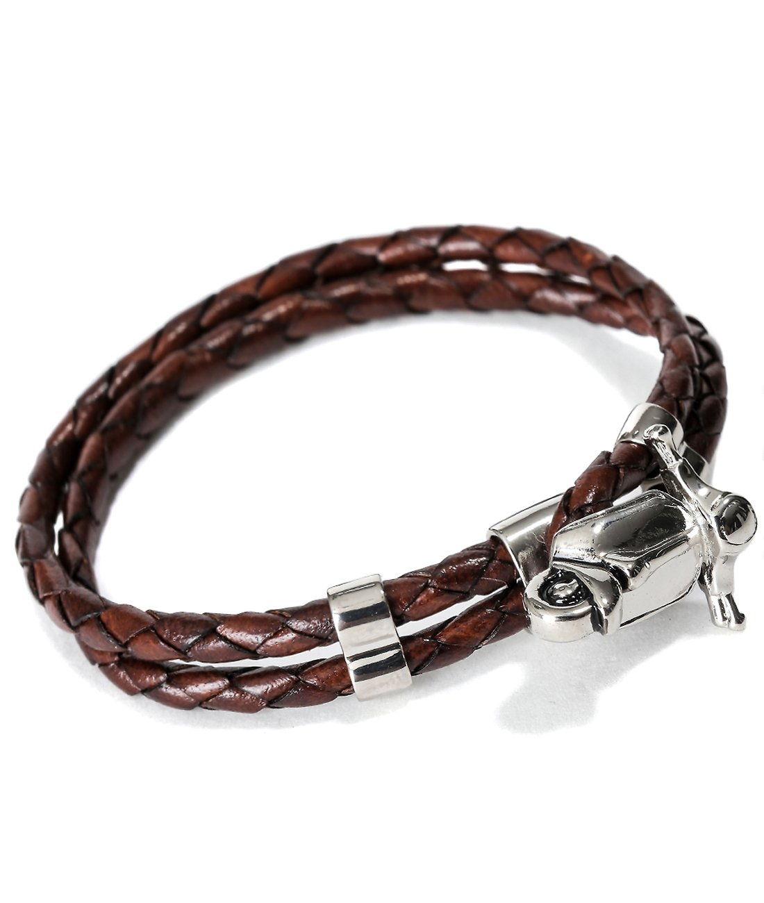 Mon Art Women's Braided Bracelet with Metal Toggle L Dark Brown