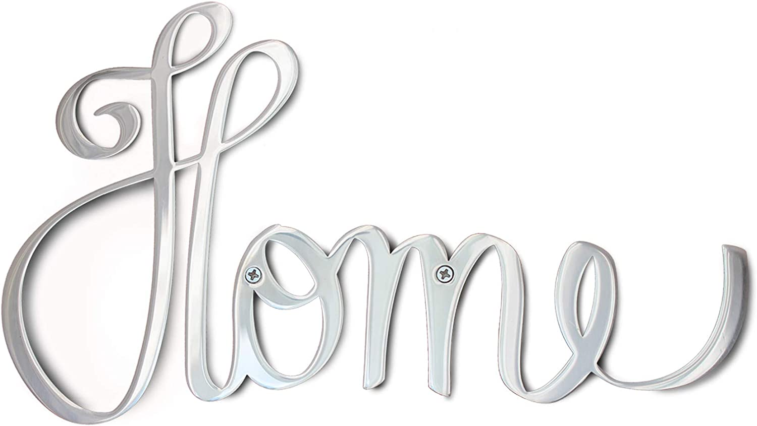 """Way Of Hearts Metal Home Sign, Hand Polished Stainless Steel Metal Wall Decor, Rustic Farmhouse Wall Decorations for Living Room, Vintage Metal Cut Out Wall Art, Silver, 10""""?6.1""""?0.1"""