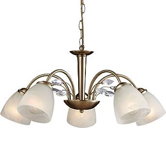 Kronleuchter 5 Flammig Messing Esszimmer Lampe Hngeleuchte Hngelampe Pendelleuchte Kristalle Klar Luster Pendellampe