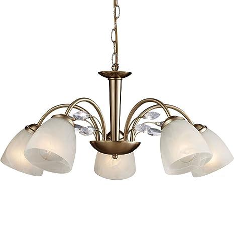 Candelabros 5 focos latón comedor lámpara iluminación de techo lámpara colgante cristales transparente (Luster, lámpara colgante, lámpara de techo, ...