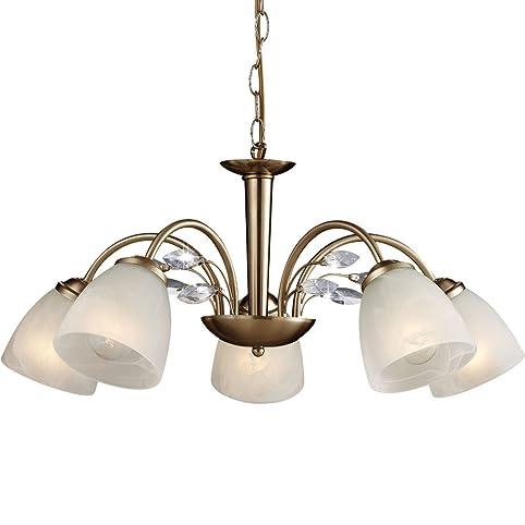 Kronleuchter 5 Flammig Messing Esszimmer Lampe Hangeleuchte Hangelampe Pendelleuchte Kristalle Klar Luster Pendellampe