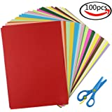 Cocoboo 100 Sheets Bulk Color Origami Papers A4 Lightweight Construction Paper and 1pcs Plastic Safety Scissors, Craft Supplies for Kids (20 Colors)