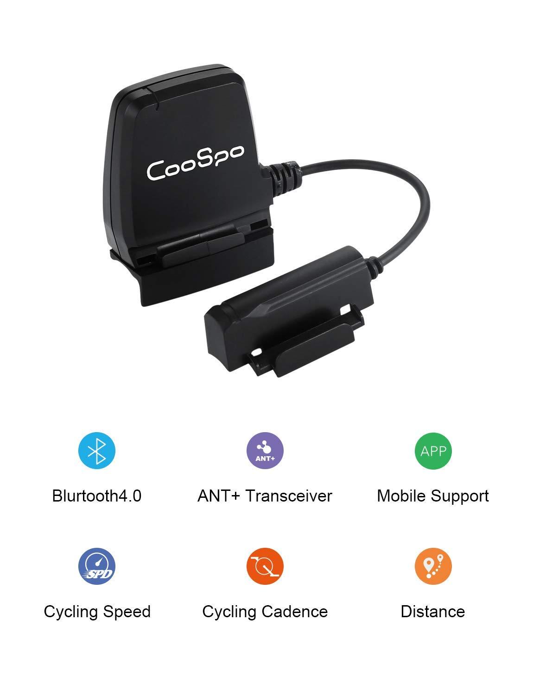 Coospo Velocidad de la Bicicleta y Sensor de cadencia de rastreador de Ejercicios Impermeable con módulo Dual inalámbrico Bluetooth 4.0 Ant + Compatible con Strava
