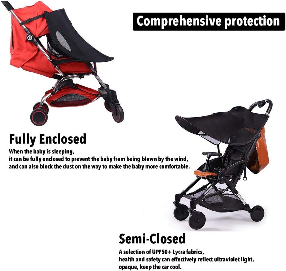 Protector Ssolar,Tiene una Excelente Protecci/ón UV. Negro auvstar Funda para Cochecito de Beb/é Toldo para Cochecito de Beb/é Parasol para Cochecito de Beb/é Parasol Negro