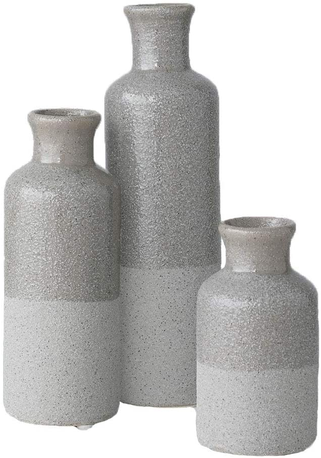 Sullivans Small Ceramic Vase Set, Rustic Home Décor, Set of 3 Vases, Two-Toned Gray (CM2859)