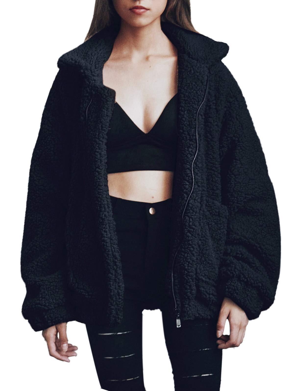 SHIBEVER Fluffy Women Coats Faux Wool Blend Warm Winter Jacket Zip Up Long Sleeve Oversized Fashion Outerwear