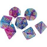 Yourandoll 7個 多面体のダイス サイコロ 2色 16mm D20 D12 D10 D8 D6 D4 Dungeons and Dragons 、DND、 TRPG、 MTGなどテーブルゲーム用 パープルブルー
