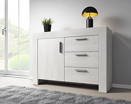Sideboard 120 Cm ~ Sideboard rome 1 door 3 drawers 120 cm white wood effect: amazon.co