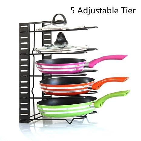 Amazon.com: Pot Organizer Rack, Kosiehouse 5-Tier Adjustable ...
