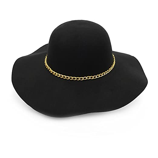 a457a573bd3 Image Unavailable. Image not available for. Color  Women s Felt Wide Brim  Floppy Fedora Hat ...