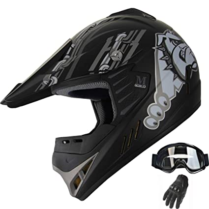 Kids Motocross Matte Black Helmet Youth Combo Goggle Gloves DOT ATV