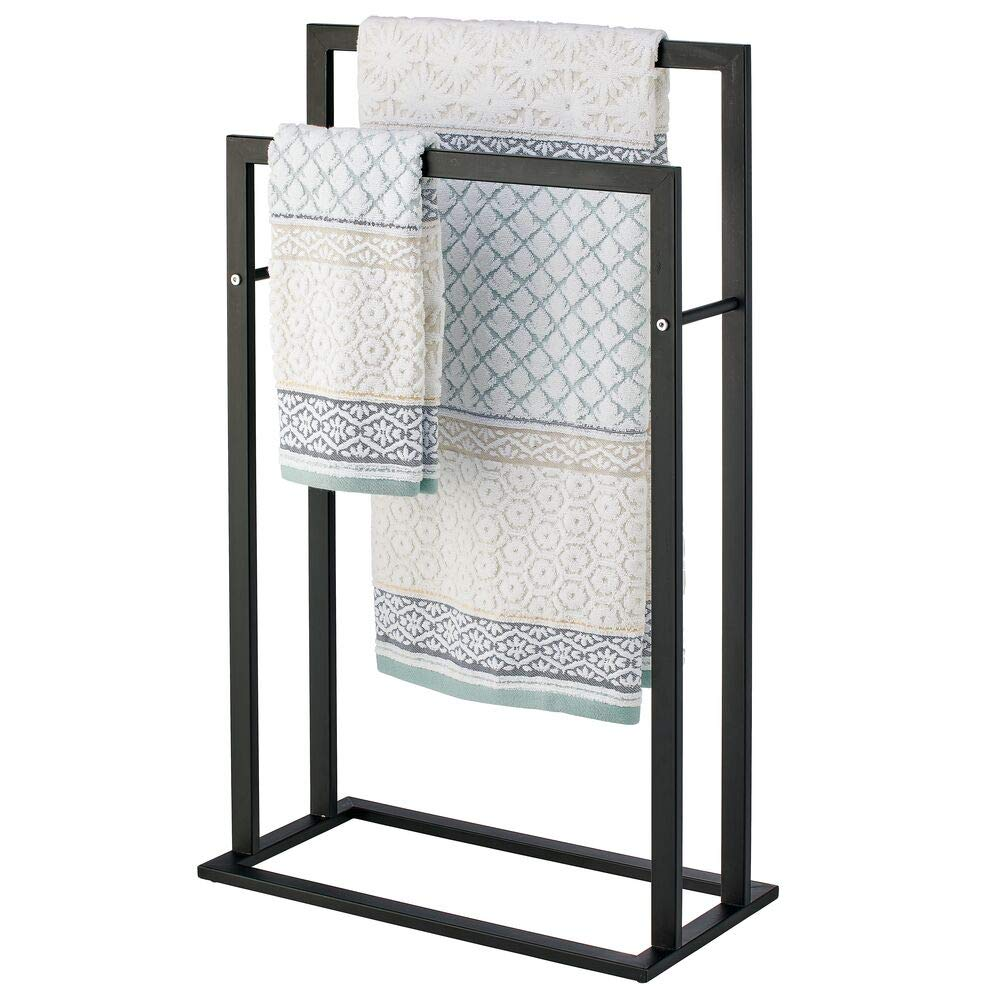 mDesign Tall Modern Metal Freestanding Towel Rack Holder - 2 Tier Organizer for Bathroom Storage and Organization Next to Tub or Shower, Holds Bath & Hand Towels, Washcloths - Matte Black