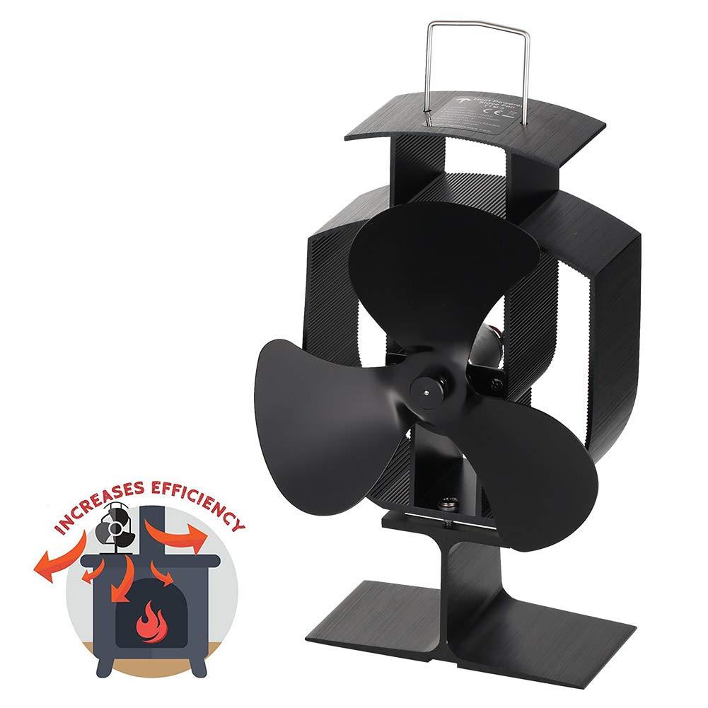 5 Blade Heat Self-Powered Wood Stove Fan Top Burner Fireplace Silent Ecofan 25dB
