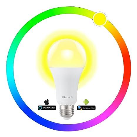 Bombilla LED Inteligente Alexa WiFi, Bombilla LED E27 que Cambia de Color Funciona con Alexa Echo ...