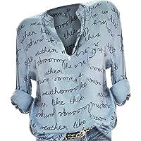 Women Blouses Office Wear,Ladies Long Sleeve V Neck Button Down Shirt Tunic Shirt Casual Loose Pullover Top Fashion T-Shirt Sport Sweatshirt (Chiffon) S-5XL