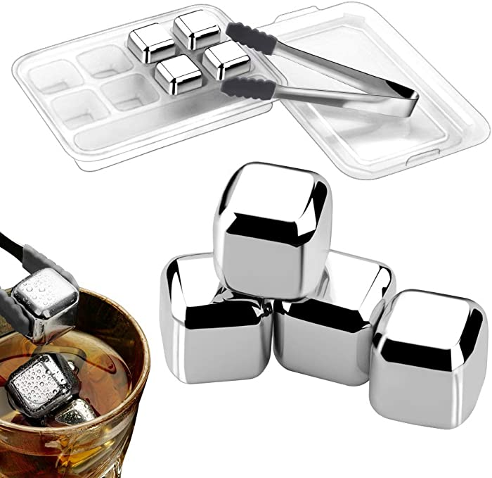 Cyimi Whiskey Ice Cubes Reusable Stainless Steel, 8 PCS Whiskey Chilling Stones for Wine and Beverage, with Silicone Head Tongs and Ice Cube Storage Trays