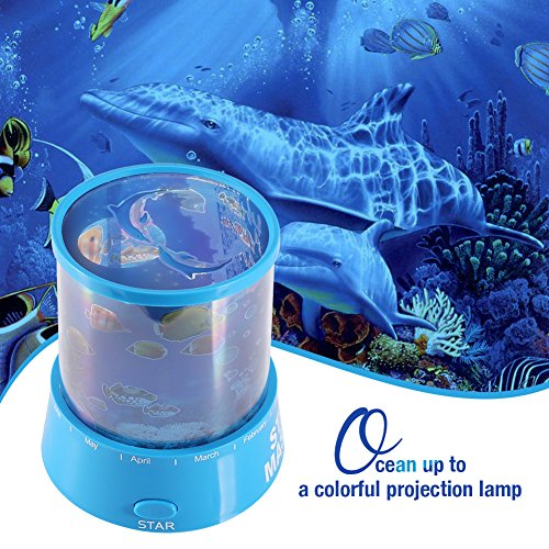 Fosa Romantic LED Projector Lamp Ocean Sea Sleeping Night Light Room Decoration Kids Gift