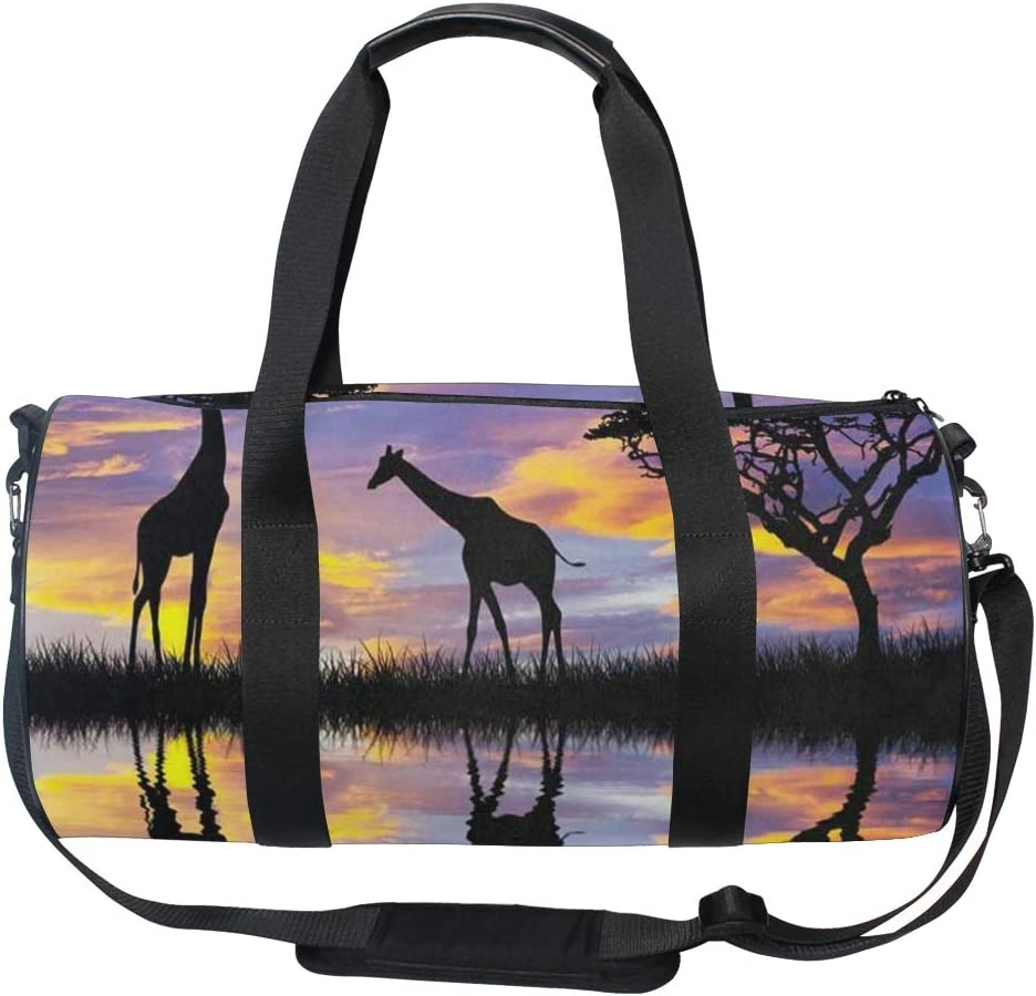 Gym Bag Giraffes In Africa Women Canvas Duffel Bag Cute Sports Bag for Girls