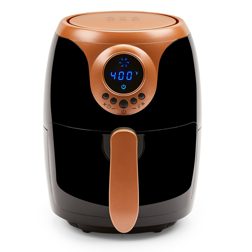 Copper Chef 2 QT Black and Copper Air Fryer - Turbo Cyclonic Airfryer With Rapid Air Technology For Less Oil-Less Cooking. Includes Recipe Book