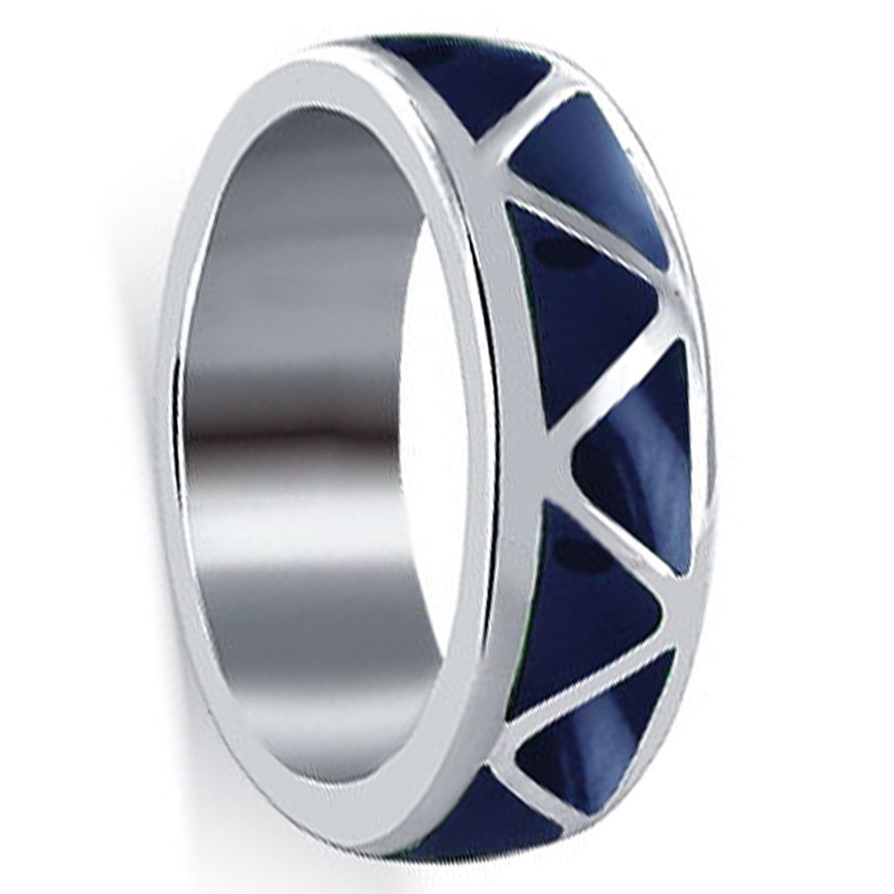 Gem Avenue Unisex Sterling Silver 6mm Wide Simulated Lapis Lazuli Band