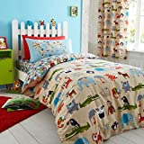Catherine Lansfield Kids Animal Kingdom Reversible Duvet Cover Set, Multi, Single