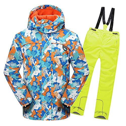 男の子と女の子のスノーボードジャケットと帽子クロスカントリースキー防風暖かいジャケットとスキーパンツ(2個セット)カラープリント防水マントセット,イエロー,134~140 黄 134~140
