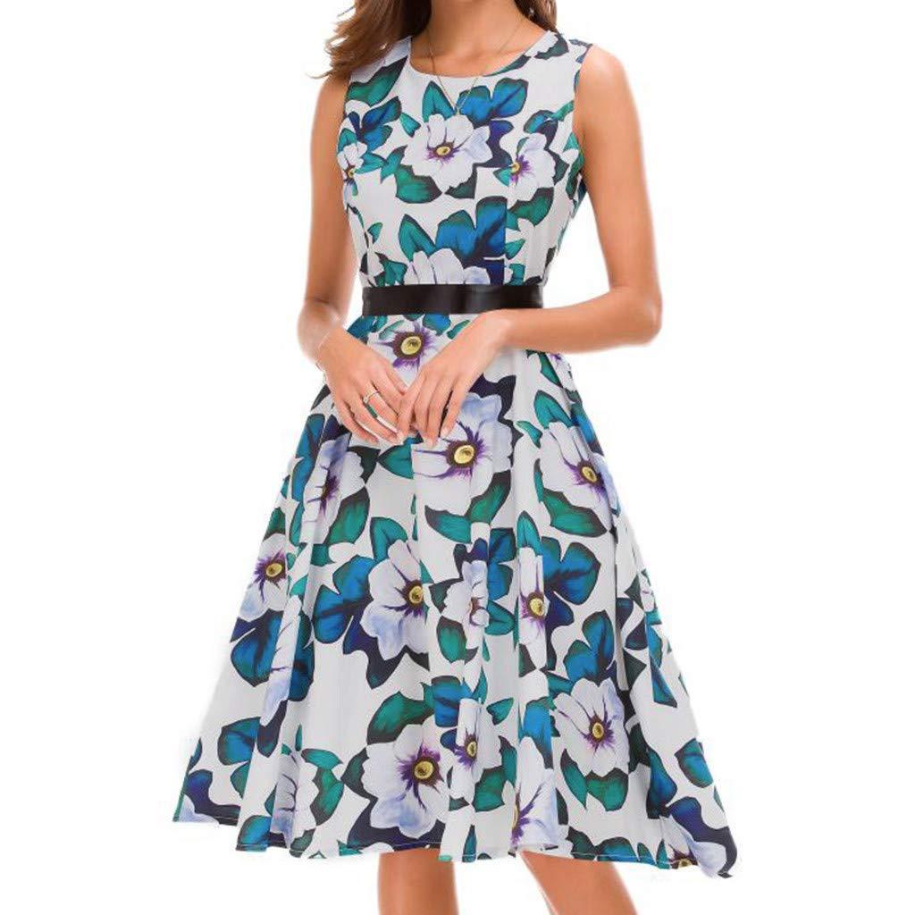 Outique Women Vintage Evening Party Prom Swing Dress 1950s Retro Sleeveless O Neck Print Waist Bow Design Hepburn Style