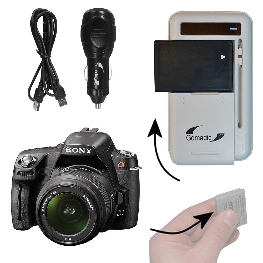 Battery Charger Kit Compatible with Sony Alpha DSLR-A390 – Contains multiple charging options, including AC Wall, DC Car and USB Port