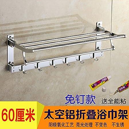 Hlluya Toallero El Espacio toallero Aluminio Desde el punzón WC doblado de Toallas de baño, Kit de Montaje en Rack,091 luz 50cm5 Gancho: Amazon.es: Hogar