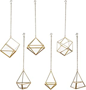 Koyal Wholesale Geometric Metal Hanging Air Planters Set of 6 Assorted Geometric Modern Shapes, Modern Hanging Vase Terrariums, Candle Holders, Plant Holders 12-Inch Chains Included