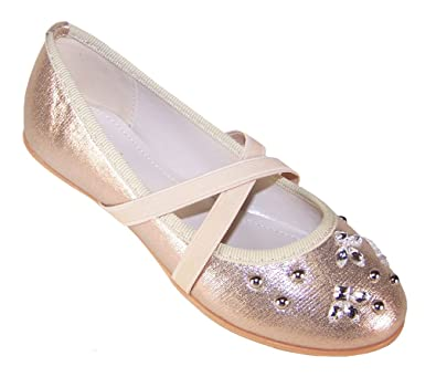 78790e812937 Girls Childrens Gold Sparkly Party Special Occasion Holiday Balerina Shoes  Size 12 UK 30 EU