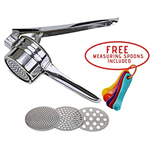 Premium Stainless Steel Potato Ricer & Baby Food Strainer/Masher and Press for Fruits, Vegetables, Squash/with 3 Interchangeable Discs for Fine, Medium and Coarse/and FREE Measuring Spoons