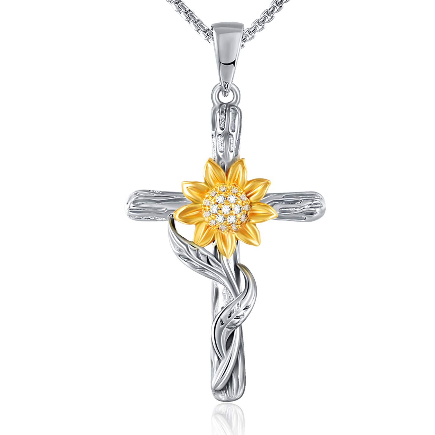 SNZM Sunflower Necklace for Women Girlfriend You are My Sunshine Jewelry Gifts for Christmas Birthday