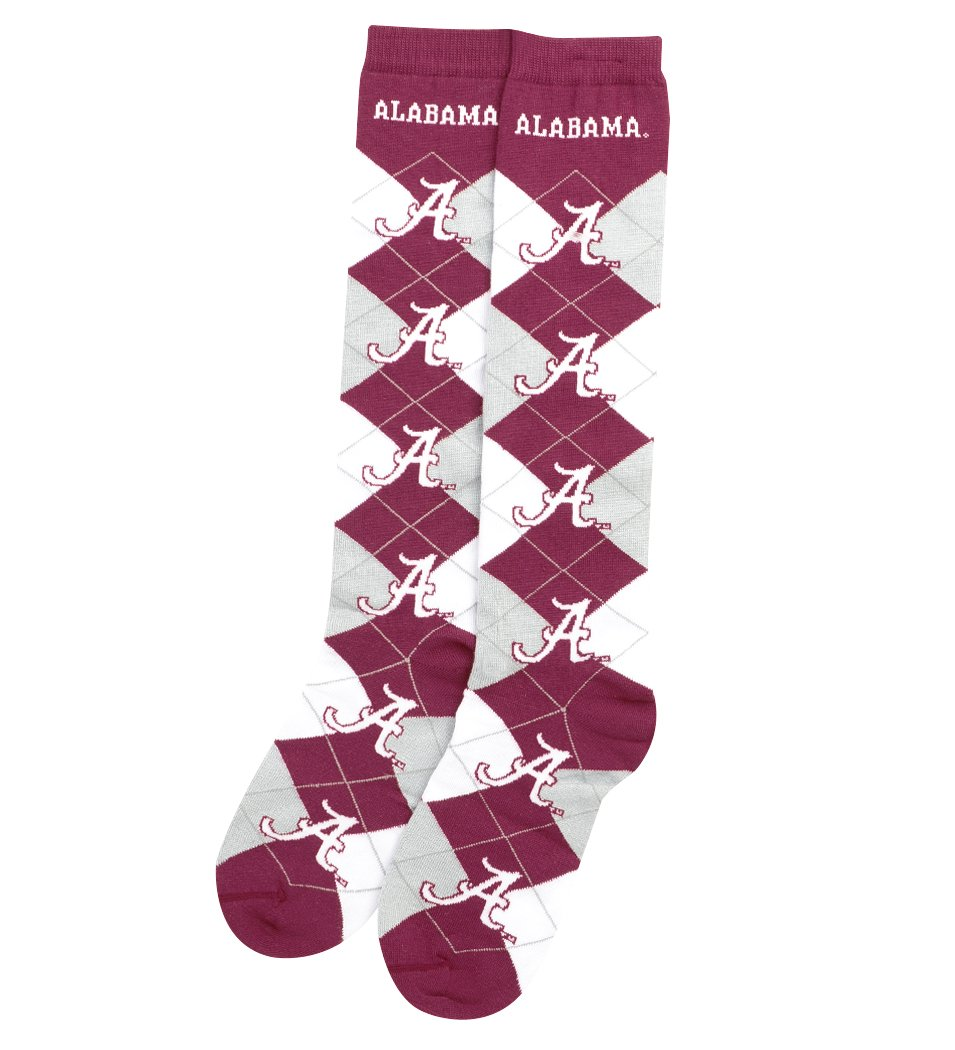 76245526287f Amazon.com   For Bare Feet NCAA Repeat Logo Argyle Knee High Socks-Medium-Alabama  Crimson Tide   Sports   Outdoors