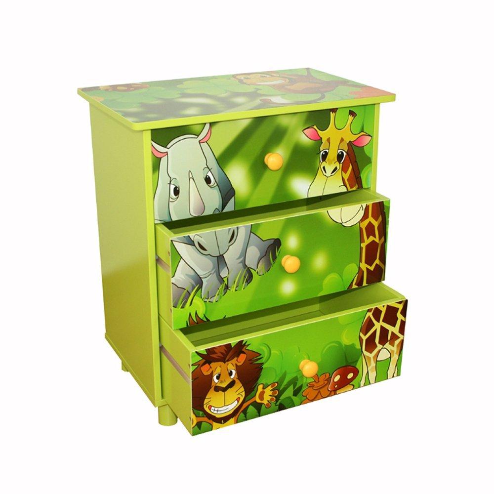 Homestyle4u 646 Kinderkommode Dschungel Tiere, Kinderschrank mit 3 Schubladen für Das Kinderzimmer, Holz Grün Holz Grün HOMESTYLE4U_646