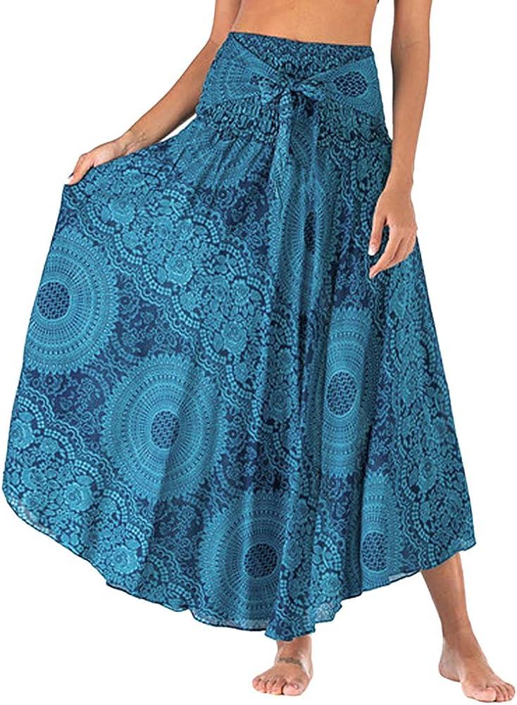 Falda de verano Shujin para mujer, larga, con estampado de flores ...