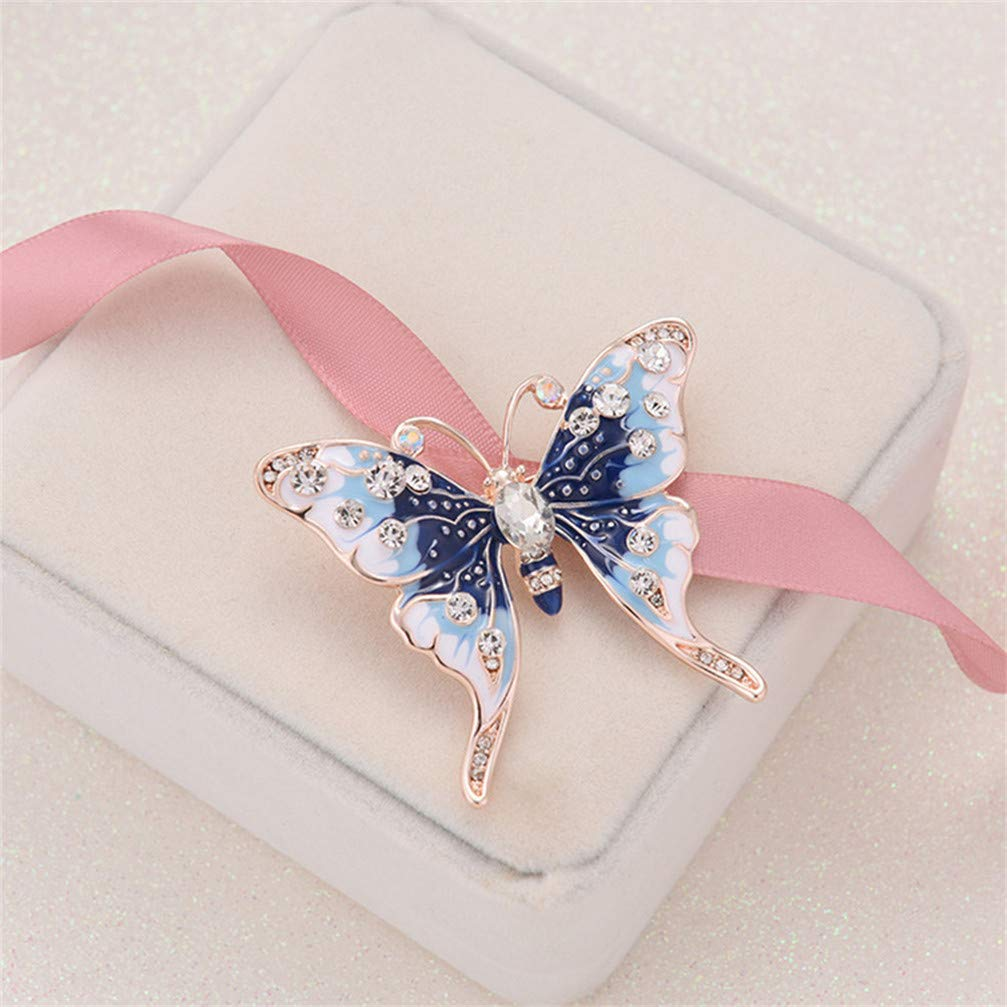 Myhouse Rhinestone Butterfly Brooch Pin Badge Shirt Jackets Coats Tie Hats Caps Backpacks Accessorie