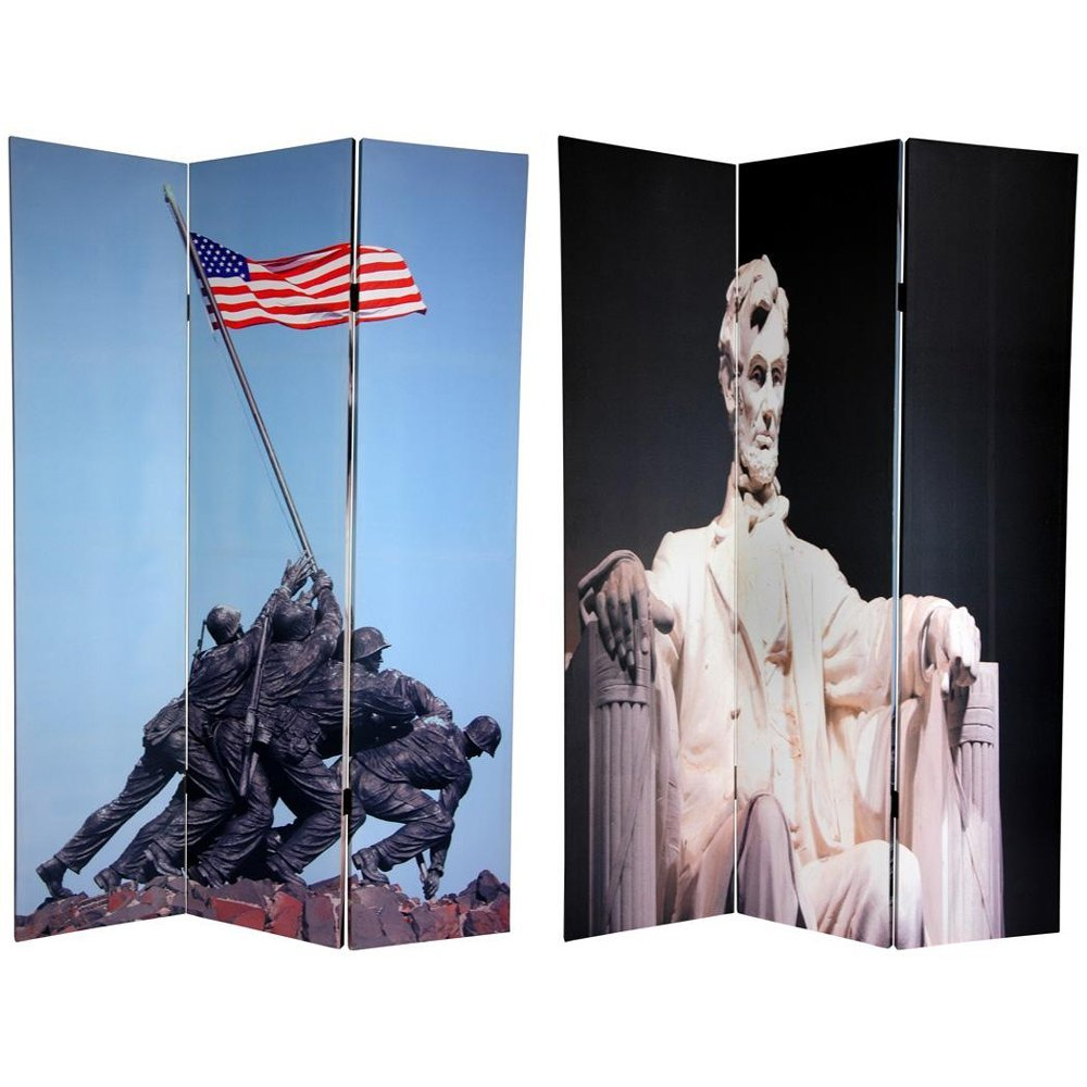 Oriental Furniture 6 ft. Tall Double Sided Memorial Canvas Room Divider - Lincoln/Iwo Jima