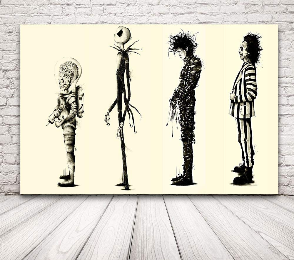 Amazon Com Black And White Tim Burton Movie Poster Beetlejuice Edward Scissorhands Canvas Prints Modern Home Decor Artwork Office Wall Decor Movie Character Wall Art Woode Framed Ready To Hang 12 X16 Posters