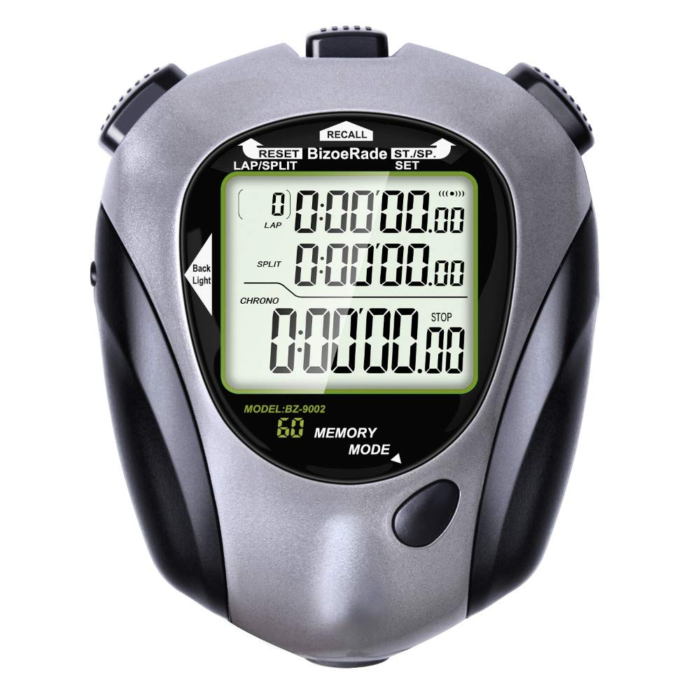 BizoeRade Digital Sports Stopwatch with Countdown Timer, Backlight, 60 Lap Memory, Clock, Metronome Functions for Coach, Referee, Marathon