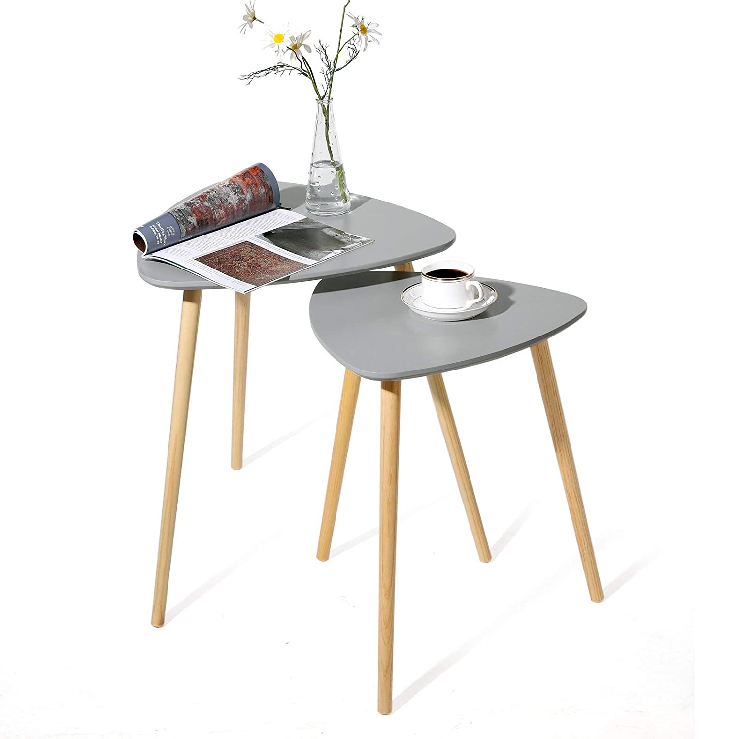 LET17GY Coffee Table with Solid Pine Legs SONGMICS Scandinavian Nesting Side Table Set of 2 Triangle End Table Nature Grey