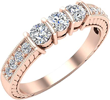 0.02 Ct Natural Diamond Past Present Future Three Stone Ring in 14K Gold Over