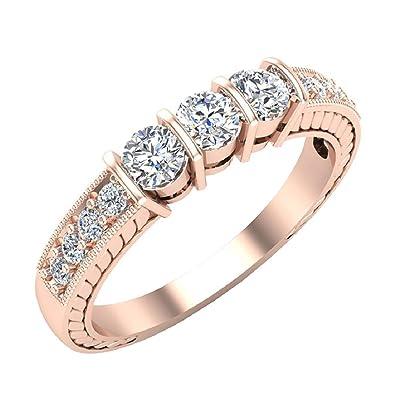 477a6ac1b48 Vintage Past Present Future Three Stone Diamond Ring Wedding Band 1/2 carat  total weight